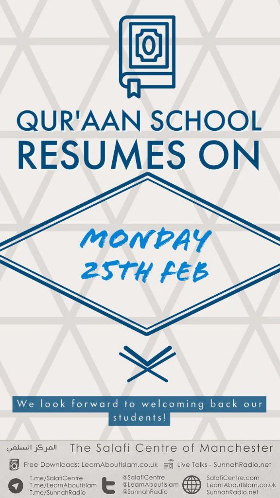 Qur'aan School Resumes Back On Monday 25th Feb @ 5:15pm – 7pm