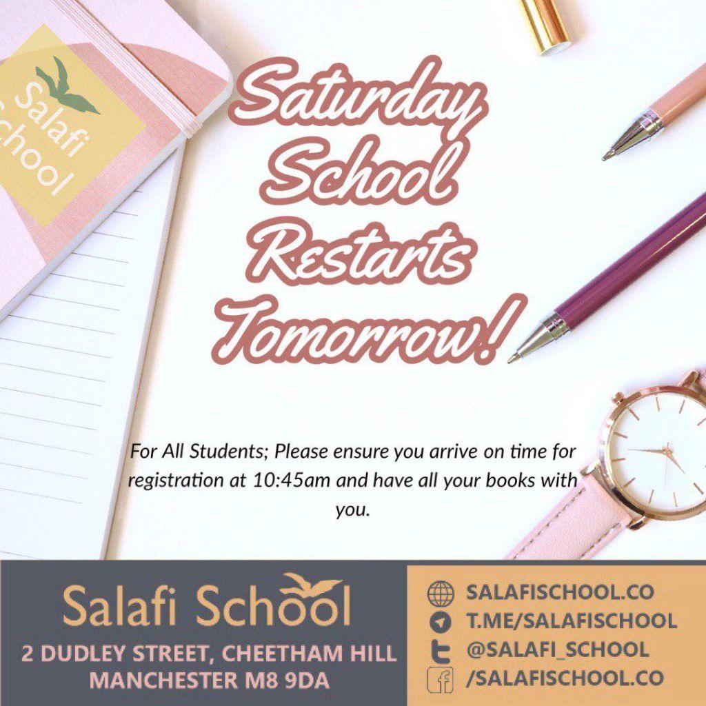 Saturday School Resumes this Saturday 15th June 2019!