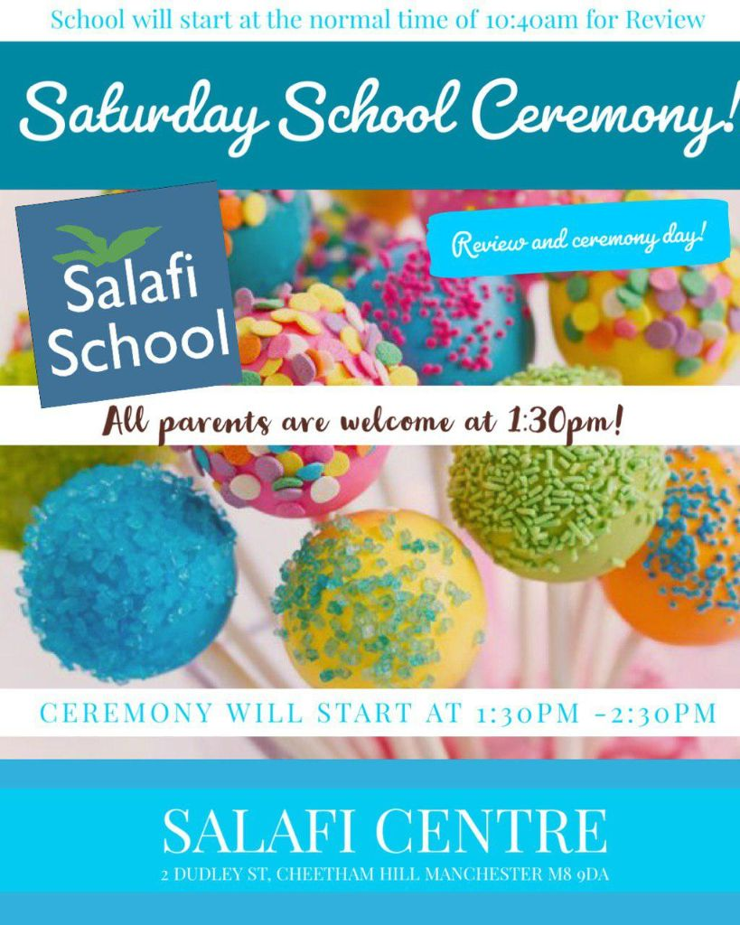 Saturday school Review and Ceremony Day Tomorrow!