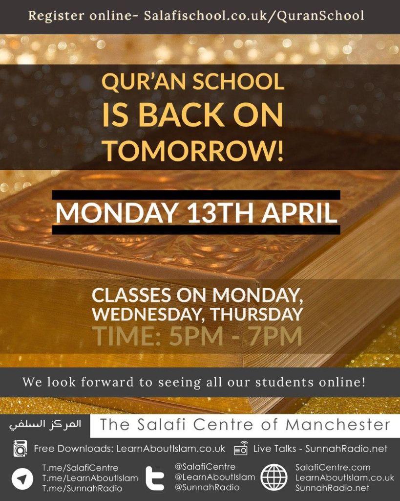 Qur'an School Resumes Back Tomorrow!