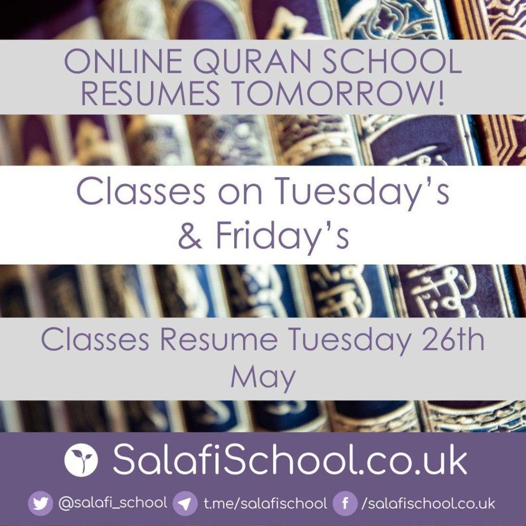 ONLINE Qur'an School Resumes Tomorrow!