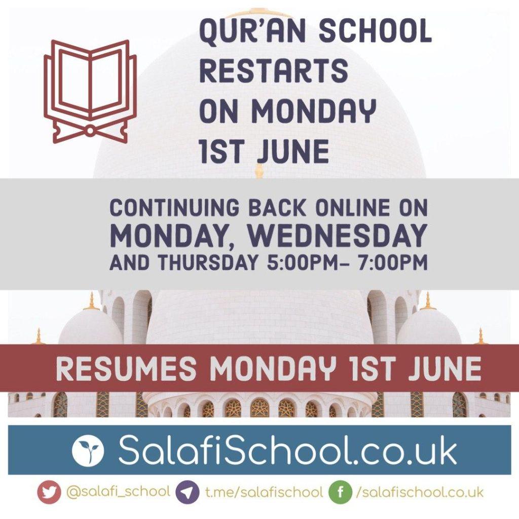 Qur'an School Restarts on Monday 1st June!
